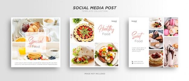 Restaurant de modèle de publication de médias sociaux de nourriture