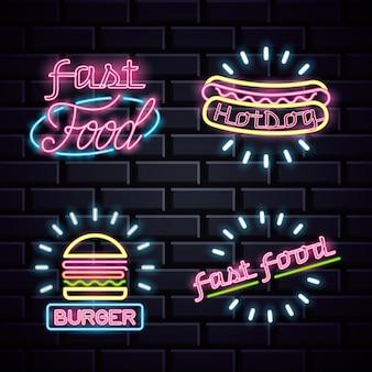 Restaurant néons publicitaires sur le mur de briques