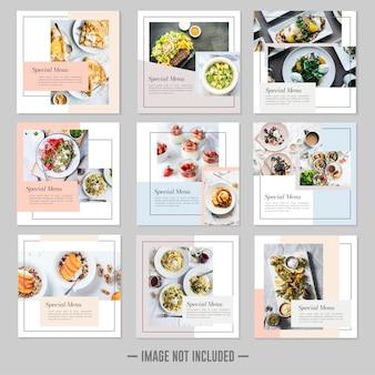 Restaurant nourriture médias sociaux poster des bannières de modèle