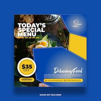 Restaurant nourriture menu sain menu social médias poster modèle abstrait coloré