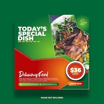 Restaurant nourriture menu sain menu social médias poster modèle coloré
