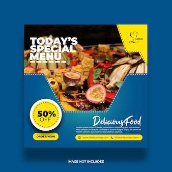 Restaurant nourriture saine délicieuse promotion créative publication sur les médias sociaux