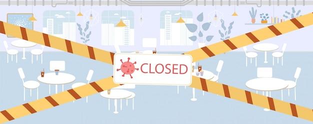 Restaurant panneau fermé panneau d'avertissement frontière bande