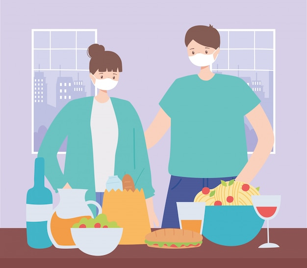 Restaurant social distancing, couple with dinner in the table, pandemic, prevention of coronavirus infection