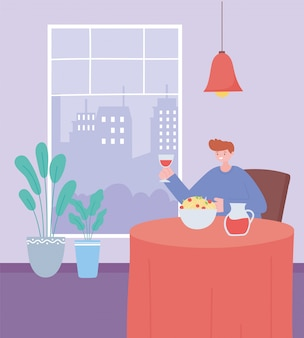 Restaurant social distancing, man eating keep social distance, prevention of coronavirus infection