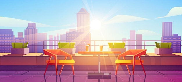 Restaurant sur terrasse sur toit avec vue sur la ville