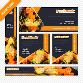 Restaurant web banner set pour la banque alimentaire