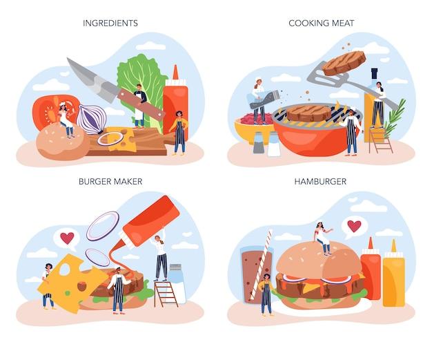 Restauration rapide, ensemble de concept de maison de hamburger