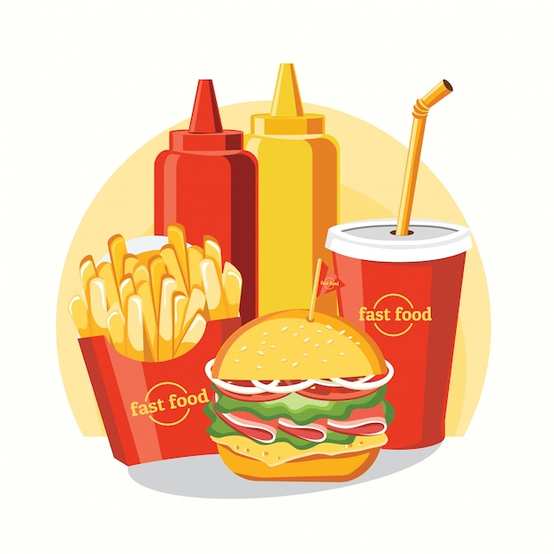Restauration rapide, jeu savoureux fast food isolé on white