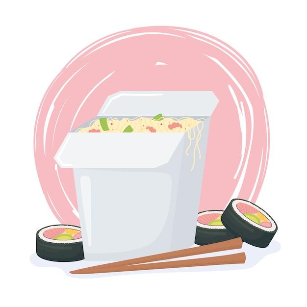 Restauration rapide, nouilles de sushi chinois avec la conception de baguettes