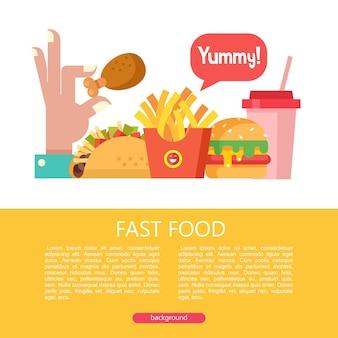Restauration rapide nourriture délicieuse illustration vectorielle dans un style plat