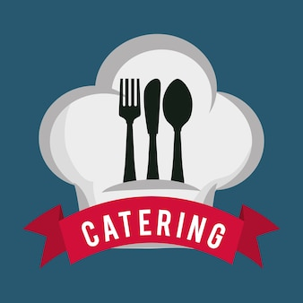 Restauration service alimentaire cuillère fourchette couteau forme de chapeau