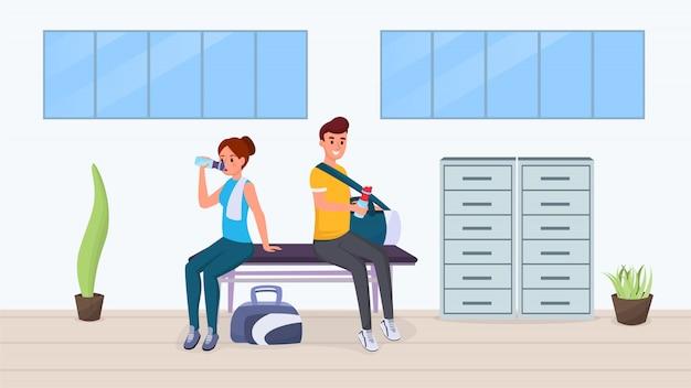 Reste après l'exercice dans un appartement de gym