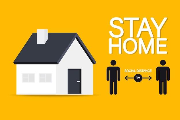 Reste à la maison. distanciation sociale. gardez un signe de distance de sécurité. gardez la distance de 1 mètre. étapes pour vous protéger pendant la propagation du coronavirus afin de réduire la transmission du virus. coronavirus (covid-19