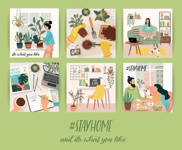 Reste à la maison. les gens restent dans une maison confortable. illustrations.