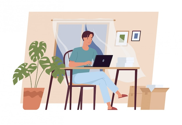 Reste à la maison. jeune homme travaillant sur ordinateur portable à la maison. indépendant, travail à domicile, travail à distance et bureau à domicile. illustration vectorielle dans un style plat