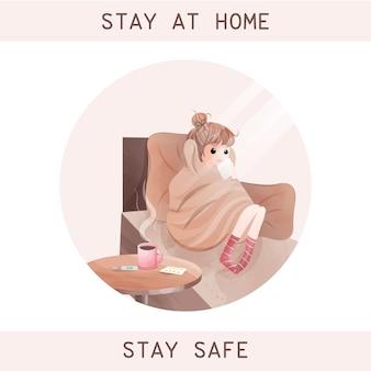 Reste à la maison; restez en sécurité pour arrêter le style aquarelle de caractère concept coronavirus.