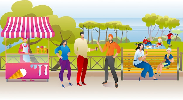 Reste de parc d'été, femme homme gens marchent avec illustration en plein air de nourriture de rue. loisirs de nature heureux avec crème glacée, mode de vie de la ville. concept de paysage vert, loisirs au banc.