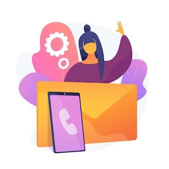 Rester en contact. moyens de communication modernes, appels téléphoniques, lettres et e-mails. personne contactant des amis et des clients par e-mail, encourageant les commentaires. illustration de métaphore de concept isolé de vecteur