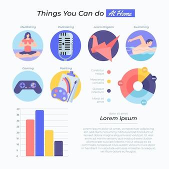 Rester à la maison concept chose que vous pouvez faire infographie