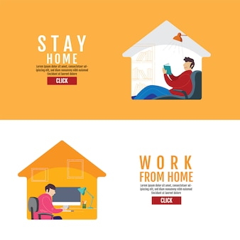 Rester à la maison concept de distanciation sociale, travail à domicile, protection contre le virus covid-19, les gens restent à la maison, illustration