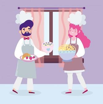 Rester à la maison, femme et homme chef dessin animé alimentaire dessert, cuisine