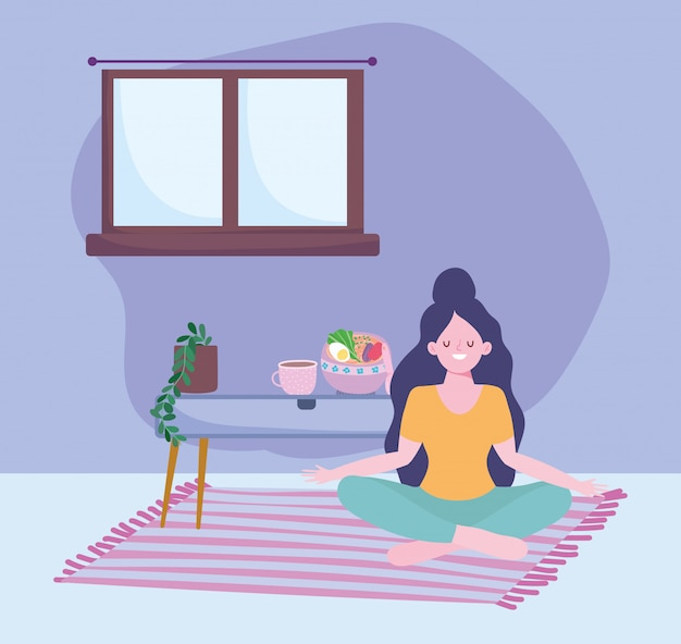 Rester à la maison, fille assise sur le sol avec de la nourriture dans le dessin animé de table,