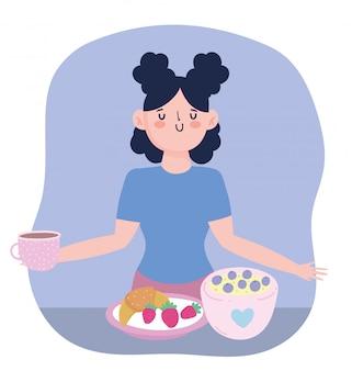 Rester à la maison, fille avec tasse de café fruits dessin animé pain, cuisine