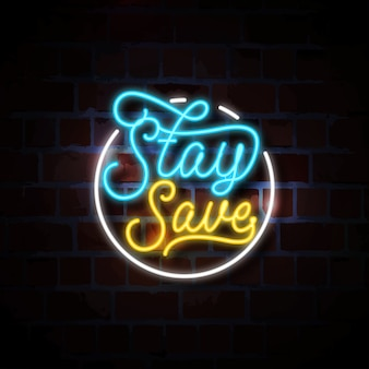 Rester en sécurité illustration de signe au néon