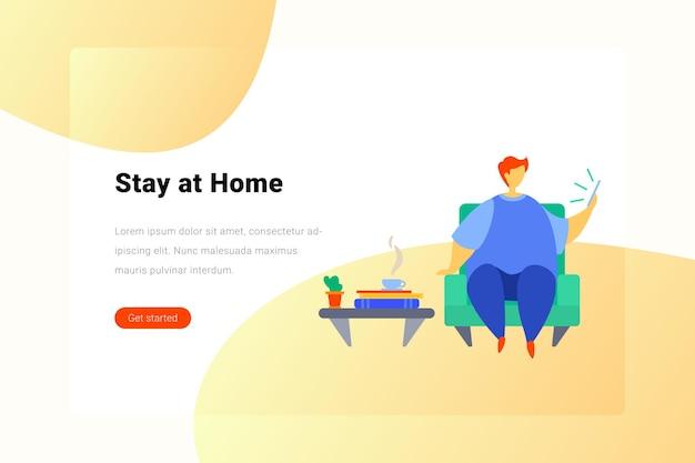 Rester travailler à la maison, pause café, plat, illustration, concept