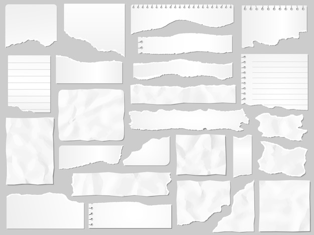 Des restes de papier. papiers déchirés, morceaux de page déchirée et jeu d'illustration de morceau de papier de scrapbook