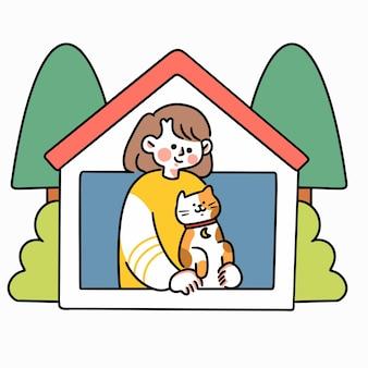 Restez à l'abri de la maison 2 doodle illustration asset