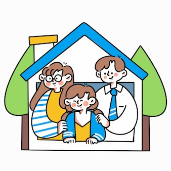 Restez à l'abri de la maison doodle illustration asset