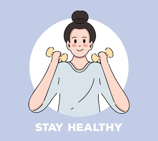 Restez en bonne santé avec une femme tenant un haltère