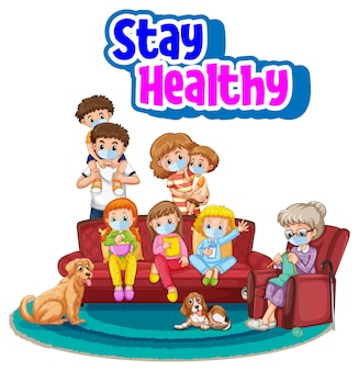 Restez en bonne santé avec tous les membres de la famille portant un masque isolé