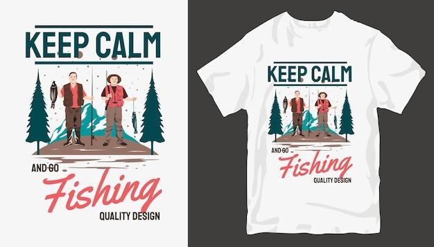 Restez calme et pêchez, conception de t-shirt de pêche.
