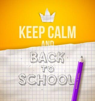 Restez calme et retour à l'illustration de l'école avec croquis dessinés à la main