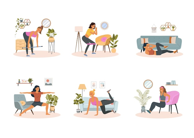 Restez et entraînez-vous à la maison. femme de remise en forme faisant des exercices dans le salon. illustration de style plat de dessin animé de vecteur