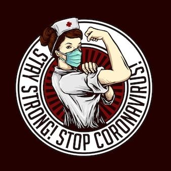 Restez fort stop conception de virus corona