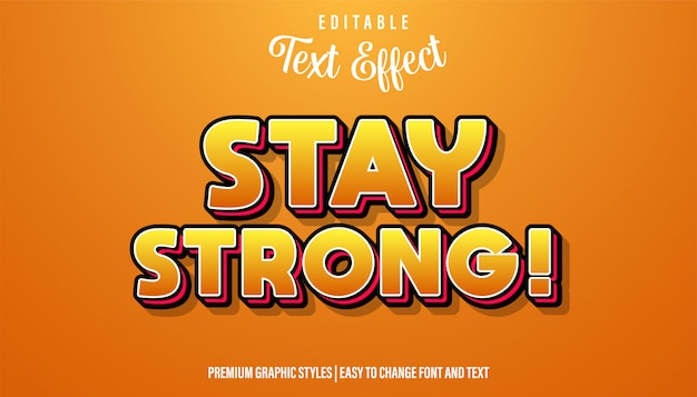 Restez forts, citations de typographie à effet de texte orange