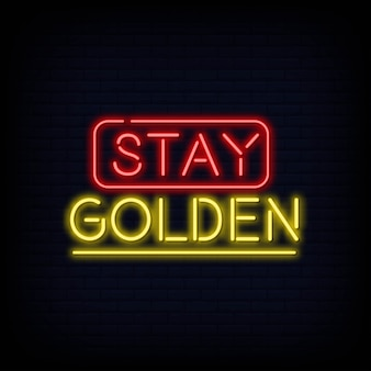 Restez golden neon text