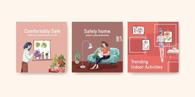 Restez à la maison annoncez le concept avec le caractère des gens faire de l'activité, dessin et lecture illustration aquarelle design