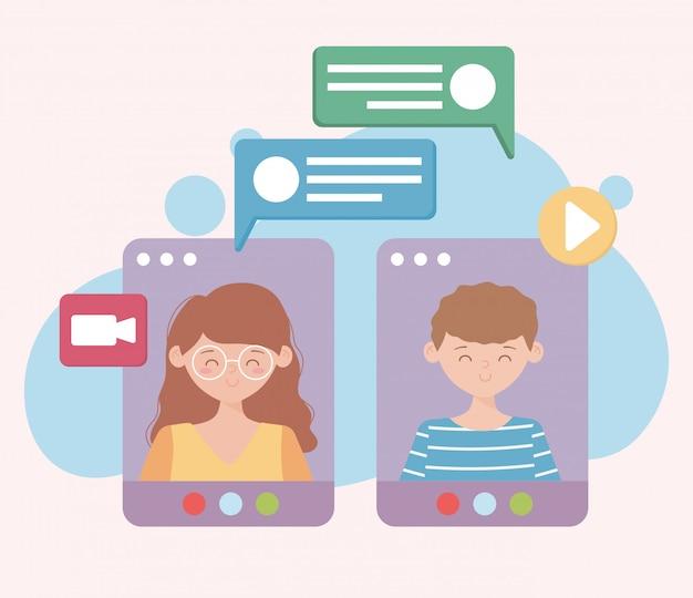 Restez à la maison, appel vidéo de conversation en ligne sur le site web des gens