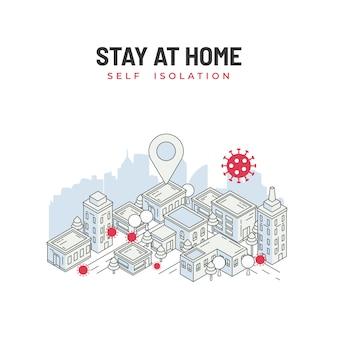 Restez à la maison, auto-isolement. prévention covid-19. distanciation sociale. paysage urbain avec virus pandémique corona