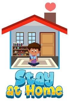 Restez à la maison et bannière d'auto-isolement avec un personnage de dessin animé reste à la maison
