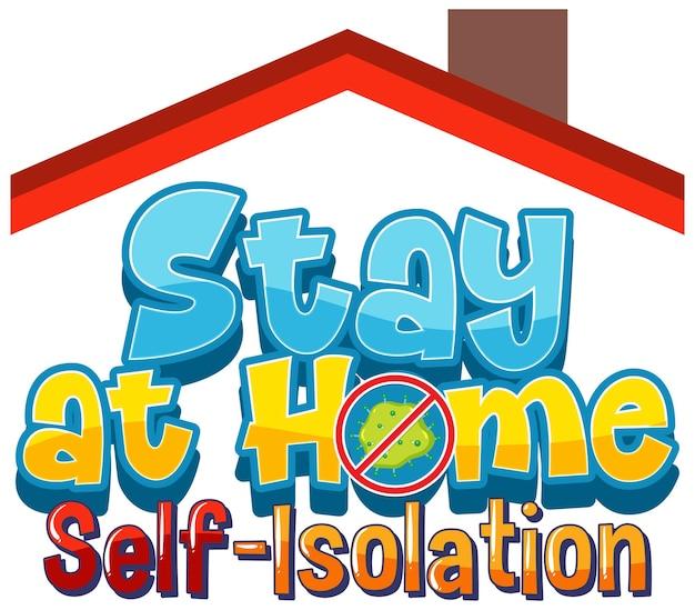 Restez à la maison et bannière d'auto-isolement avec le travail de personnage de dessin animé à domicile