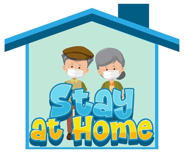 Restez à la maison et bannière d'auto-isolement avec un vieux couple de personnages de dessins animés travaillant à domicile