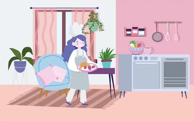 Restez à la maison, chef féminin avec de la nourriture dans le plat, activités de quarantaine de cuisine