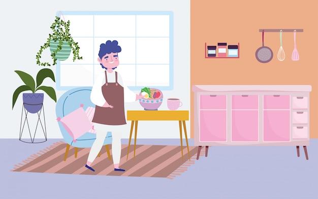 Restez à la maison, le chef masculin prépare la nourriture, cuisine les activités de quarantaine