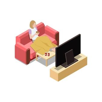 Restez à la maison composition isométrique avec une femme assise sur un canapé en train de regarder l'illustration de la télévision